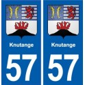 57 Knutange coat of arms sticker plate stickers city