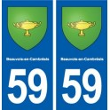 59 Beauvois-en-Cambrésis coat of arms sticker plate stickers city
