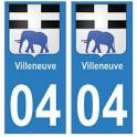 04 Villeneuve ville autocollant plaque