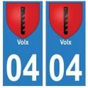 04 Volx ville autocollant plaque
