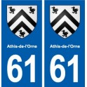 61 Athis-de-l'Orne blason autocollant plaque stickers ville