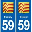 59 Busigny blason autocollant plaque stickers ville