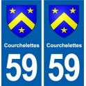59 Courchelettes coat of arms sticker plate stickers city