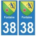 38 Fontaine blason autocollant plaque ville