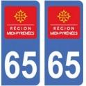 65 Hautes-Pyrénées autocollant plaque