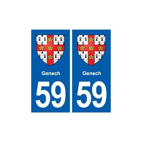 59 Genech blason autocollant plaque stickers ville