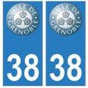 38 Grenoble blason 2 autocollant plaque