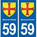 59 Mons-en-Pévèle coat of arms sticker plate stickers city