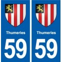 59 Thumeries coat of arms sticker plate stickers city