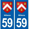 59 Willems blason autocollant plaque stickers ville