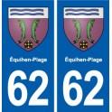 62 Équihen-Plage blason autocollant plaque stickers ville