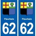 62 Fleurbaix coat of arms sticker plate stickers city