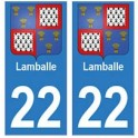 22 Lamballe autocollant plaque blason armoiries stickers département
