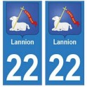 22 Lannion autocollant plaque blason armoiries stickers département