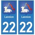 22 Lannion autocollant plaque blason armoiries stickers département