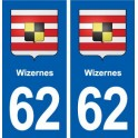 62 Wizernes coat of arms sticker plate stickers city