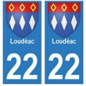 22 Loudéac autocollant plaque blason armoiries stickers département