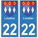 22 Loudéac autocollant plaque blason armoiries stickers département