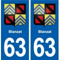 63 Blanzat blason autocollant plaque stickers ville