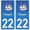 22 Paimpol autocollant plaque blason armoiries stickers département