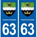 63 Auzat-la-Combelle coat of arms sticker plate stickers city