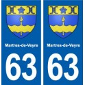 63 Martres-de-Veyre coat of arms sticker plate stickers city