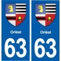 63 Orléat blason autocollant plaque stickers ville