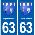 63 Veyre-Monton coat of arms sticker plate stickers city