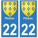 22 Plédran autocollant plaque blason armoiries stickers département