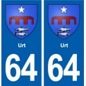 64 Urt coat of arms sticker plate stickers city