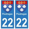 22 Dinan autocollant plaque blason armoiries stickers département