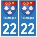 22 Dinan autocollant plaque blason armoiries stickers département