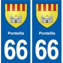 A 66-Ponteilla coat of arms sticker plate stickers city
