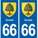 66 Sorède blason autocollant plaque stickers ville