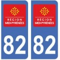 82 Tarn-et-Garonne autocollant plaque