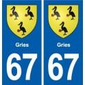 67 Gries blason autocollant plaque stickers ville