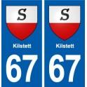 67 Kilstett blason autocollant plaque stickers ville