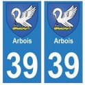 39 Arbois autocollant plaque blason armoiries stickers département ville