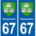 67 Sessenheim blason autocollant plaque stickers ville