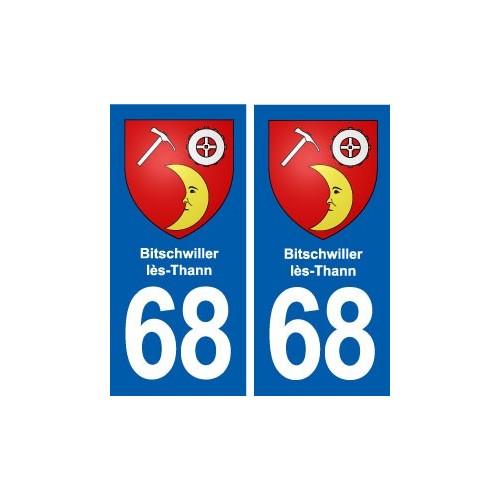 68 Bitschwiller-lès-Thann blason autocollant plaque stickers ville droits