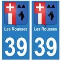 39 Les Rousses autocollant plaque blason armoiries stickers département