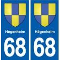 68 Hégenheim coat of arms sticker plate stickers city
