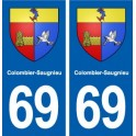 69 Colombier-Saugnieu coat of arms sticker plate stickers city