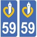 59 Nord autocollant plaque