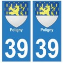 39 Poligny autocollant plaque blason armoiries stickers département ville