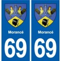 69 Morancé coat of arms sticker plate stickers city