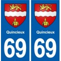 69 Quincieux coat of arms sticker plate stickers city