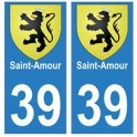 39 Saint-Amour autocollant plaque blason armoiries stickers département ville