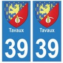 39 Tavaux autocollant plaque blason armoiries stickers département ville