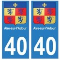 40 Aire-sur-lAdour autocollant plaque blason armoiries stickers département ville